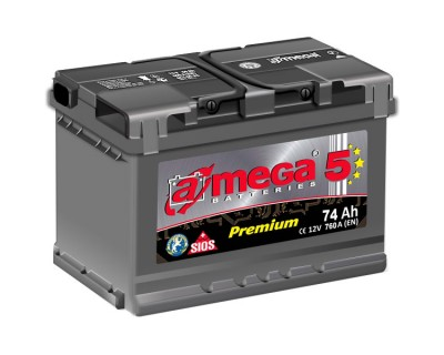 A-mega 5 Premium 74Ah-760Aen R+ - фото 1