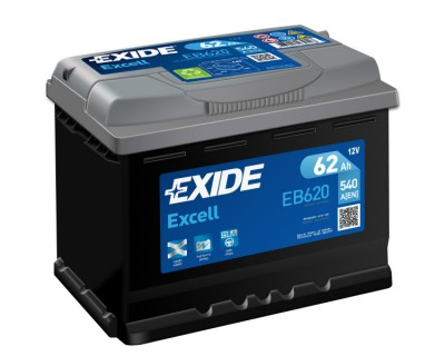 Exide Excell EB620 (6 CT-62) 62Ah-540Aen R+ - фото 1