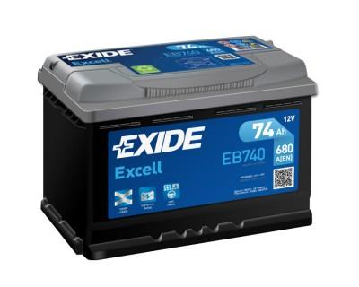 Exide Excell EB740 (6 CT-74) 74Ah-680Aen R+ - фото 1