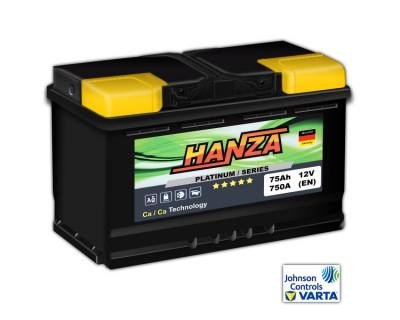 Hanza Platinum (6 CT-75) 75Ah-750Aen R+ (h-175) - фото 1